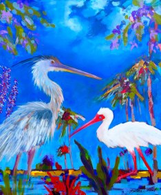"""Grey Heron and Ibis"" original oil on canvas, 24""x20"""